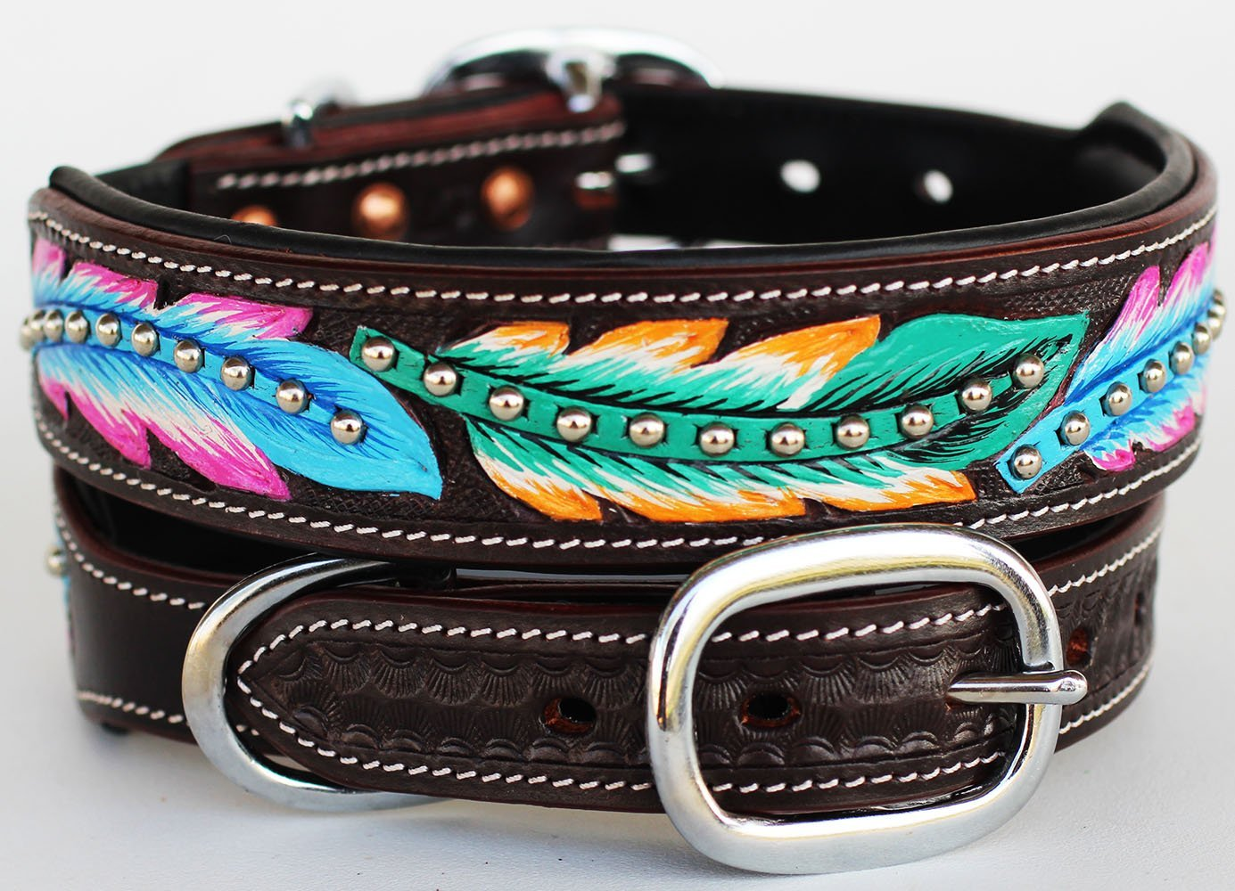 bling leather dog collar